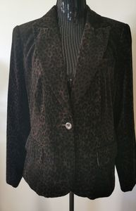 Nygard Brown & Black Leopold Print Blazer Size 14